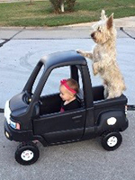 little girl driving toy car with her dog